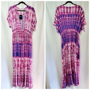 F21 Tie Dye V Neck Cover Up Dress
